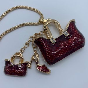 FASHION red & Gold tote & heels necklace for women